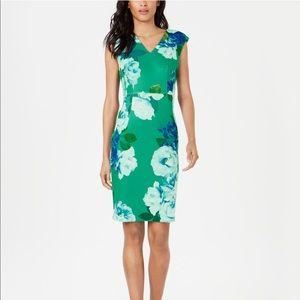 Calvin Klein floral print sheath dress NWT